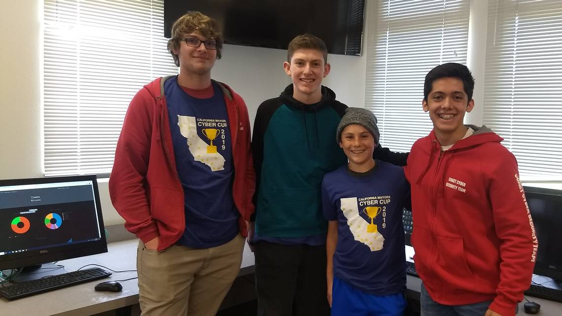 Coast Union's cybersecurity team.From left: Jonathan Jewel, Trent Ferguson, Caiden Kennedy and Luis Plascencia