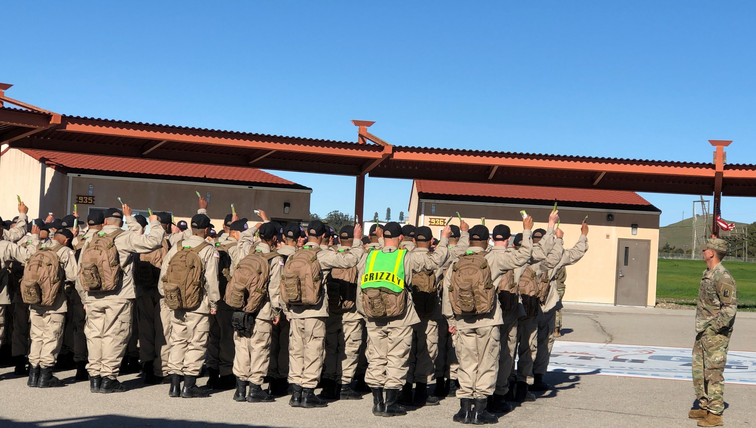 New Grizzly Cadets line up for Snack break